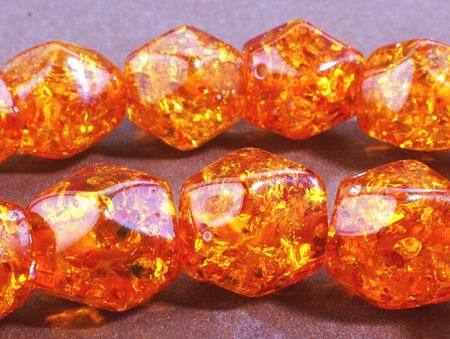 Faceted Bicone Amber Bead String