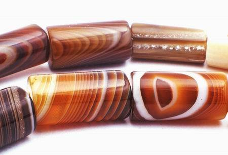 Beautiful Large Brazilian Agate Tube Beads - Natural!