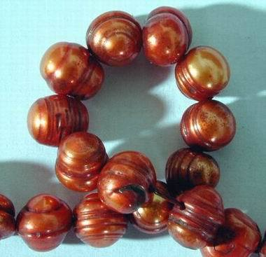 Vivid Copper-Colour 8mm Pearls