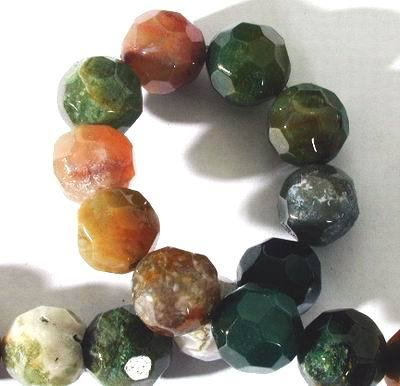 Large Faceted Majestic Indian Agate 12mm Beads