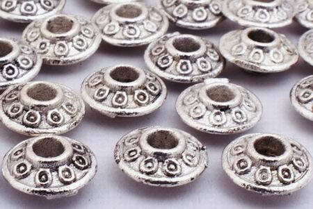 100 Silver Flying Saucer Bead Spacers