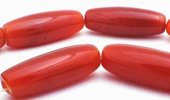 Long Slinky Red Carnelian Barrel Tube Beads