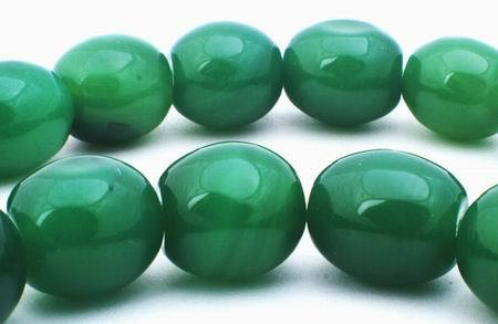 Beefy Forest-Green Agate Barrel Beads - Heavy!
