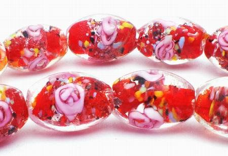 Seductive Pink Rose Lampwork Oval Beads