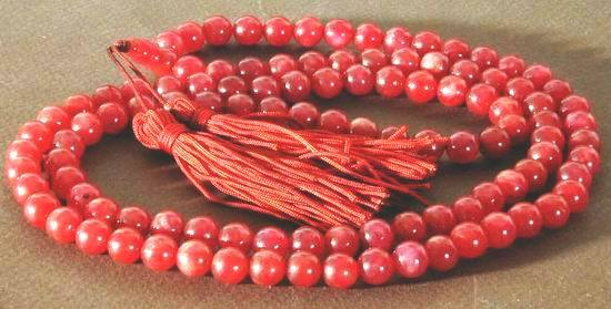 Chinese Red Jade Buddhist Mala Necklace