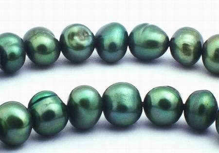 Lustrous Forest-Green Round 5mm Pearls
