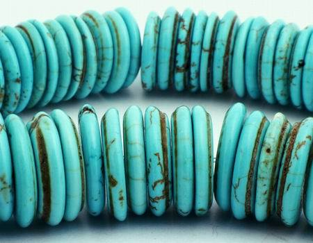 76 Large Blue Turquoise Disc Beads - For Striking Jewellery!