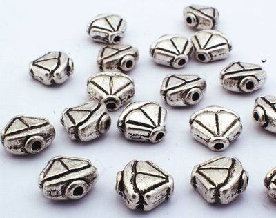 25 Large Silver Fan Bead Spacers
