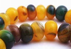 Slinky Yellow & Green Carnelian Rondelle Beads - Large