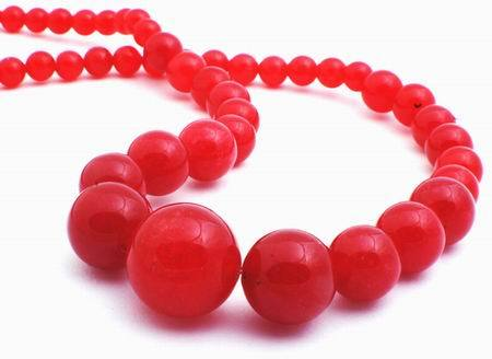 Regal Red Jade Graduated Beads - 14mm to 6mm