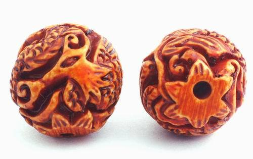 10 Large  Carved Dragon & Phoenix Beads