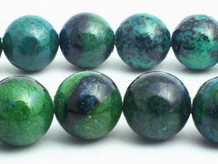 Large Deep Forest Green Azurite Chrysocolla Beads - 6mm, 8mm or 10mm