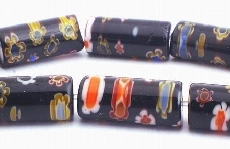 Black Millefiori Flower Tube Beads