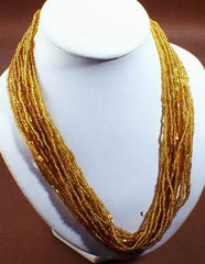 Long 18-String Golden Seed Bead Necklace