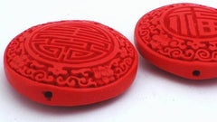 Vivid Red Carved Cinnabar Beads - 55mm