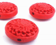 4 Bright  Red Round Carved Cinnabar Beads