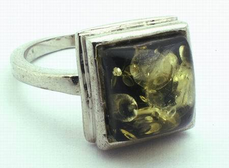 Unusual Green Amber Ring