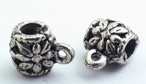 25 Large Gothic Silver Tub Drop Beads with Loop