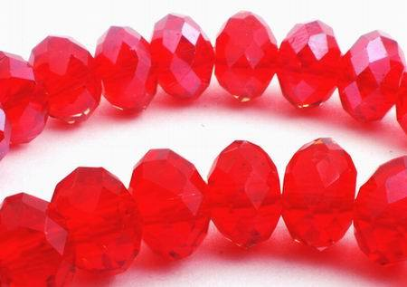 64 Faceted Fire Engine Red Crystal Rondelle Beads