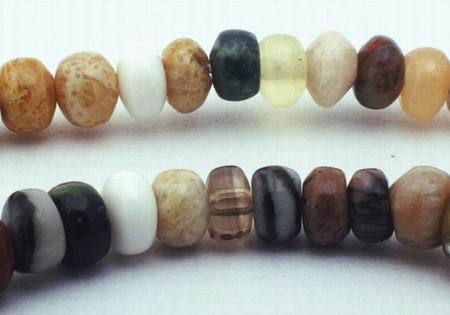 140 Mixed Agates & Jasper Rondelle Beads
