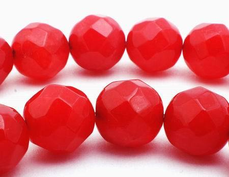 Enticing Scarlet Red Faceted Jade Beads - 10mm