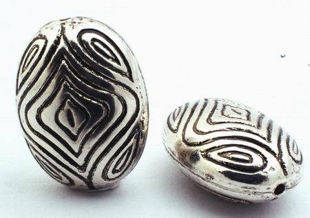8 Large Silver Aztec Oval Bead Spacers - 24mm