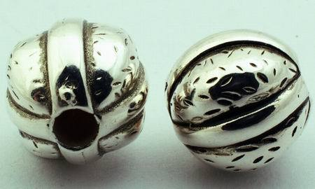 8 Large Silver Walnut Bead Spacers - 15mm