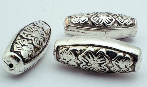 10 Traditional Vase Silver Barrel Spacers -  31mm Long