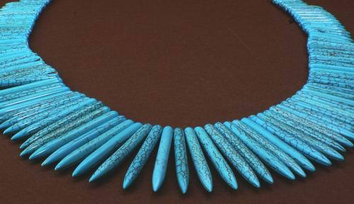 99 Graduated Blue Turquoise Icicle Spike Beads - 58mm to 20mm