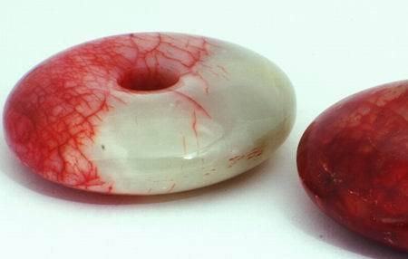 Huge Gleaming 52mm Red & Green Jade Donut Bead