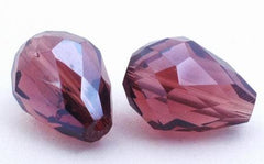 25 Faceted Burgandy Crystal Teardrop Beads
