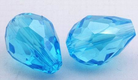 25 Aquamarine Sparkling Crystal Teardrop Beads