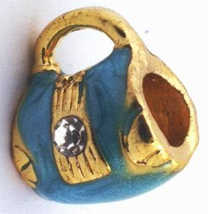 2 Blue & Gold Royal Purse Charm Beads
