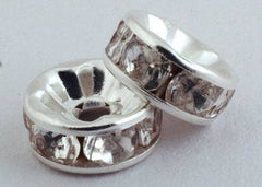 50 Silver Metal Rondelle Crystal Spacers