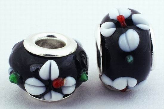 2 Black & White Flower Lampwork Charm Beads - 14mm