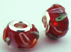 2 Red Petal Flower Lampwork Charm Beads - 14mm