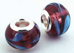 2 Burgandy & Blue Lampwork Charm Beads - 14mm