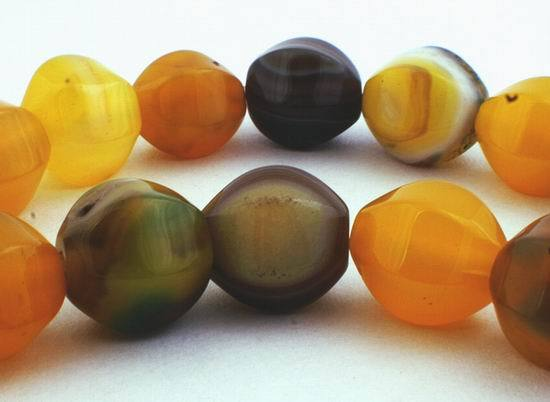 Large Yellow & Green Faceted Carnelian Lantern Beads