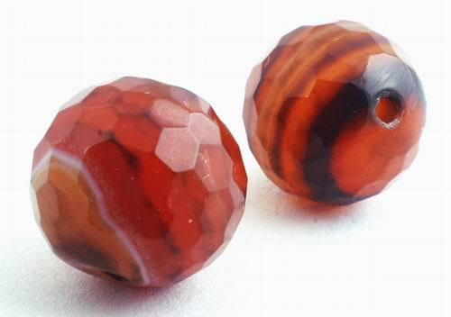 3 Enchanting Multi-Faceted Agate Beads - 14mm