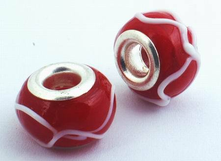 4 Carnival Red Lampwork Charm Beads