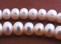 Lustrous White Rondelle Pearls -6mm or 8mm
