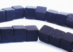 Haunting Frosty Black Onyx Cube Beads - 6mm