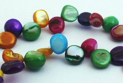 Colourful Rainbow MOP Shell Flat Oval Drops Beads