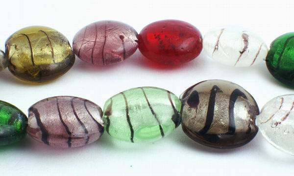 Venetian-Colour Murano Glass Foil Button Beads - Heavy!