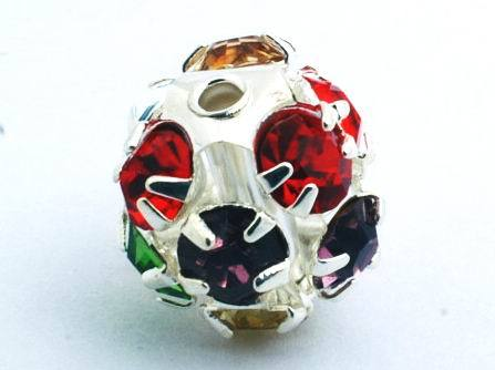 3 Red, Green & Purple Diamond Rhinestone Beads - 10mm