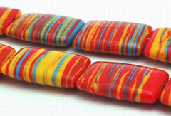 Eye-catching Rainbow Calsilica Pillow Beads - 18mm x 13mm