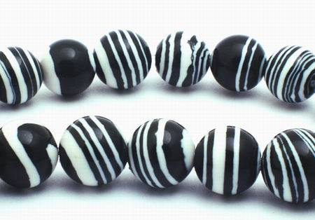 Vibrant Distinctive Zebra Calsilica  Beads- 6mm or 8mm