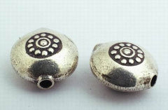 Large Round  Thai Silver Bead Spacer - 11mm x 6mm