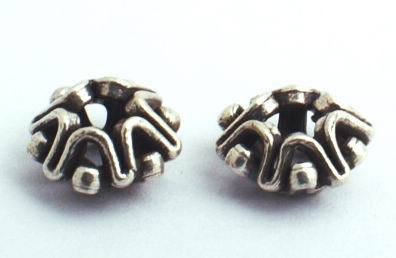 2 Wavy Round Thai Silver Bead Spacers - 8mm x 4mm