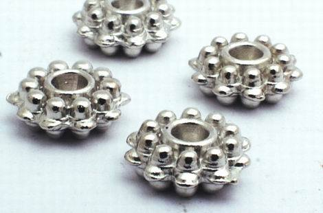 40 Silver Cog Wheel Spacers - 8mm x 3mm